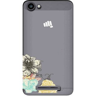 the best attitude ab3bd 70220 Snooky Printed Corner Flower Mobile Back Cover of Micromax Canvas Spark 2  Plus Q350 - Multicolour
