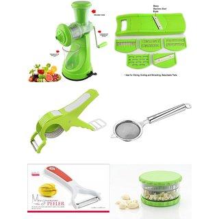 SRK Kitchen Combo Elegant Green Fruit Juicer + 6 In 1 Slicer + Multi Veg Cutter + Tea Strainer+Mango Peeler+Garlic Dicer