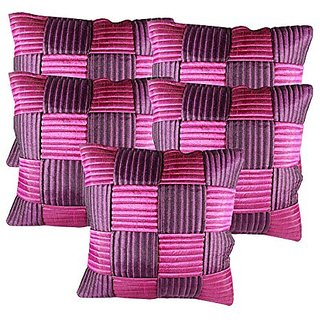 Zain Pink-Purple Checkered Quilted Cushion Covers, 12 Inch x 12 Inch ( Set of 5 Pieces)