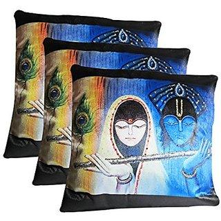 Zain RadhaKrishna Velvet Cushion Covers With Stone Work , 12 Inch x 12 Inch ( Set of 3 Pieces)