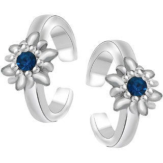 Oviya Rhodium Plated Floral Love Toe Ring with Crystal Stones TR2101003RBlu