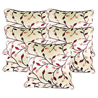 Zain Maroon-White Leaf Printed Silk Cushion Covers, 12 Inch x 12 Inch ( Set of 5 Pieces)