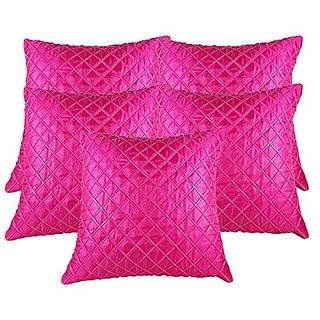 Zain Pink Checkered Polyester Cushion Covers, 12 Inch x 12 Inch ( Set of 5 Pieces)