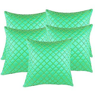 Zain Green Checkered Polyester Cushion Covers, 12 Inch x 12 Inch ( Set of 5 Pieces)