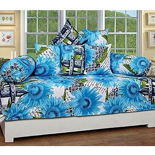 Zain Diwan Set of 8 pieces,Blue, Floral Design