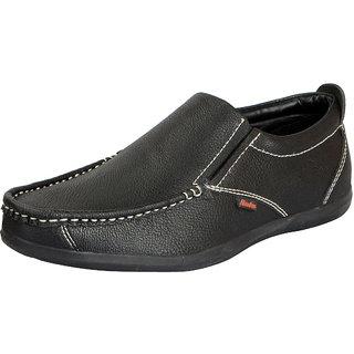 Bata Mens Black Premium Leather Stylish Loafers
