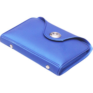 Blue PU Leather Card Holder (12 Card Slots) (Synthetic leather/Rexine)
