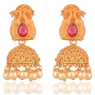 Fab Jewel Fashionable Gold Matte Alloy Jhumki Earrings for Women