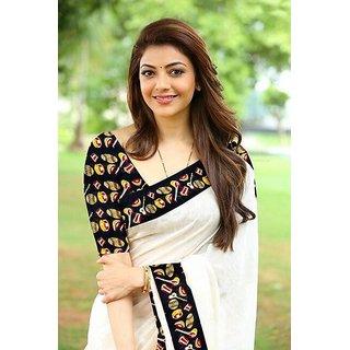 d47c4ed4c80681 Trilok Fashion White Kalamkari Print Border With Kalamkari Blouse Saree