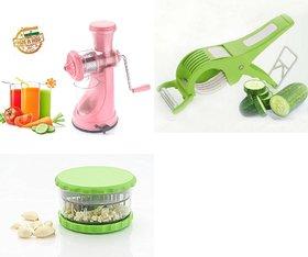 SRK Kitchen Combo Elegant Pink Fruit Juicer + Multi Veg Cutter + Garlic Crusher Or Dicer