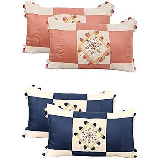 Zain Embroidered Cotton Pillow Covers, Set of 4 Pieces (17x27 Inch)