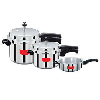 Surya Accent Super Saver combo pack 5 L, 3 L, 2 L Pressure Cooker