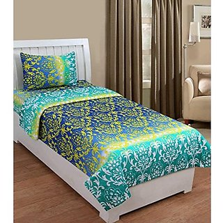 ZAIN 100 COTTON SINGLE BED SHEET WITH ONE PILLOW COVER