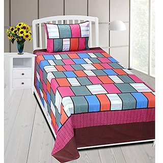 3b4231af67 Zain 180 TC 100 Cotton 1 Single Bed sheet with 1 Pillow Cover, Platinum  Series ( Checkered Design)