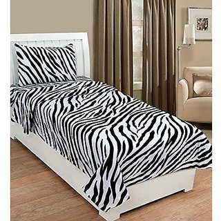 Zain 100% Cotton Single Bed Sheet With 1 Pillow Cover White Black