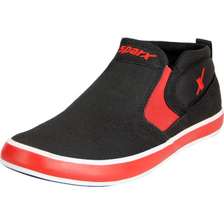 Sparx Mens Black Red Canvas Shoes