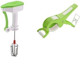 SRK Kitchen Combo Power Free Hand Blender Or Beater + Multi Veg Cutter Cum With Peeler
