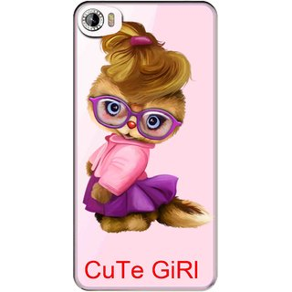 Snooky Printed Cute Girl Mobile Back Cover of Intex Aqua Glam - Multicolour