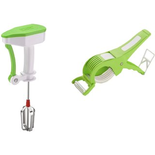 SRK Kitchen Combo Power Free Hand Blender Or Beater + Multi Veg Cutter Cum With Peeler
