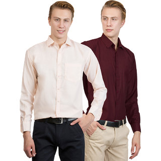 Van Galis Men's Multicolor Plain 100% Cotton Regular Fit Formal Shirt Pack of 2