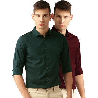 308b6642 Zeal Garments Maroon Stripes Formal Shirt for Men : Men's Apparel ...