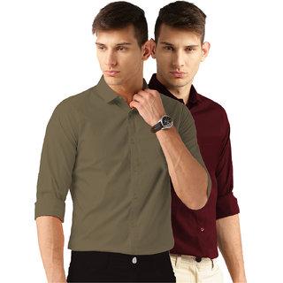 Van Galis Men's Multicolor Plain 100% Cotton Regular Fit Formal Shirt Pack of 2