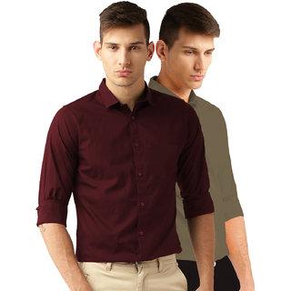 Van Galis Men's Multicolor Plain 100 Cotton Regular Fit Formal Shirt Pack of 2