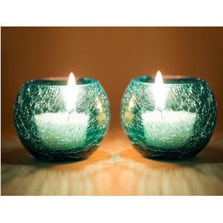 Derien Crackel Blue Candle Holders Set Of 2