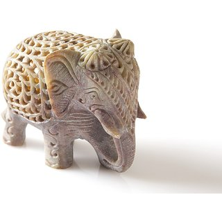 Soapstone Elephant Figurines Handmade in Jali or Openwork From a Single Block of Stone  baby elephant inside it