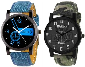 Gen-Z Combo Of 2 Youth Army And Blue Watches