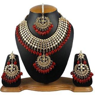 88a9e1efb Finekraft Dark Red Beaded-Pearls Designer Gold Plated Meena Kundan Wedding  Choker Necklace Jewelry Set