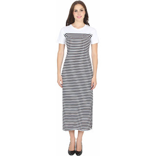 Stone Flower Black and White Striped Fish-Cut Dress for Women and Girls