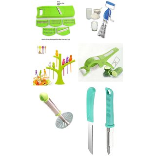 SRK Combo 6 In 1 Slicer+Hand Beater+ Birdie Fruit Fork+Multi Veg Cutter+ Potato Masher+ 2pcs Kitchen Knife