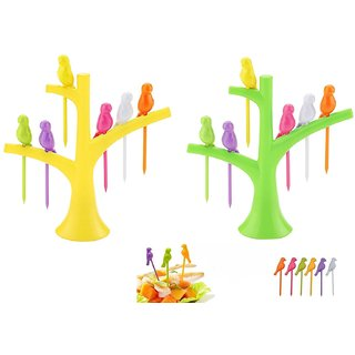 SRK Kitchen Tool Combo Birdie Fruit Fork 6pcs With Stand Set of 2pcs