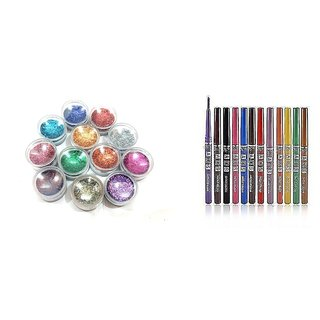 COMBO OF ADS DAZZLE COLOR PERFECT EYE/LIP LINER 12 PCS WITH 12 PCS THIK MULTICOLOR GLITTER SET