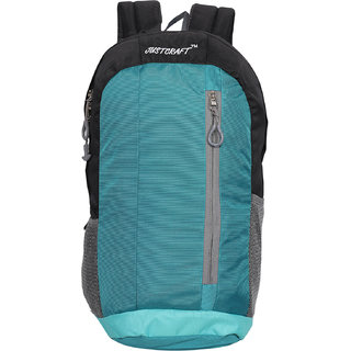 Justcraft Black and C Green Solid Polyester Casual Backpacks