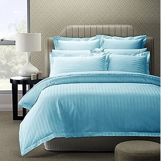 Buy Pure Cotton King Size Double Bed Sheets With Satin Strip Thread