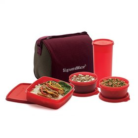 Signoraware Best Jumbo Lunch with Bag, 1.25 Litres, Multi color