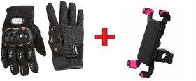 AUTOTRUMP Combo Offer Probiker Gloves With AUTOTRUMP Bike mobile Holder