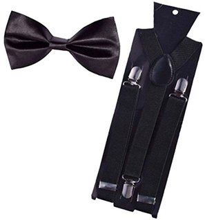 Tahiro Black Suspender N Black Bow Tie