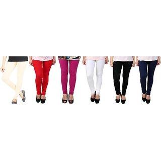 Womens Cotton Full Length Churidar Leggings  set of 6