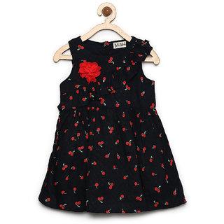 Bella Moda Girls Black Printed Fit & Flare Dress