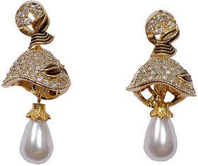 Sigma Gold Plated American Diamond Jhumki Earrings