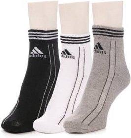 Adidas Multicolour Cotton Ankle Length Socks - 3 Pairs