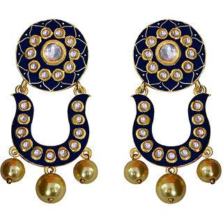 f186792e9d Designer meenakari kundan gold plated brass fashion dangler earrings fro  women. Rs ...