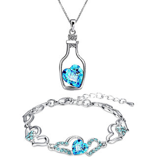 Oviya Rhodium Plated Valentine Collection Combo of Bottle Heart Pendant and Heart Link Bracelet with crystal stones CO21