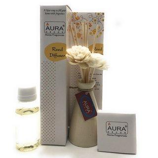 AuraDecor 1 Meditation Flavour 50ml Reed Diffuser Oil, 8 plain Sticks  2 Flower Reed Sticks (Cream)