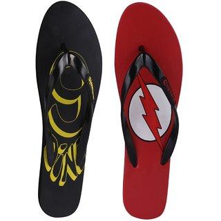 Crazeis Black Red Flip Flop Combo