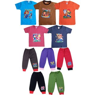 Jisha Fashion Boys Round Neck Cotton Tshirt and Plain Capri assorted color HMNSPLAIN ( Pack of5) 3Months to 5 Years