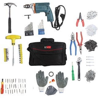 Tiger 10 MM impact Drill Machine with 333 accessories with tools bag Multicolored